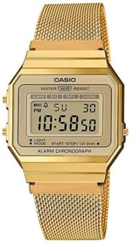 #1. Casio Retro Watch Unisex Gold Chronometer