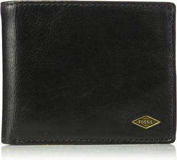 1. Fossil Men's Ryan Leather RFID Blocking Bifold Flip ID Wallet