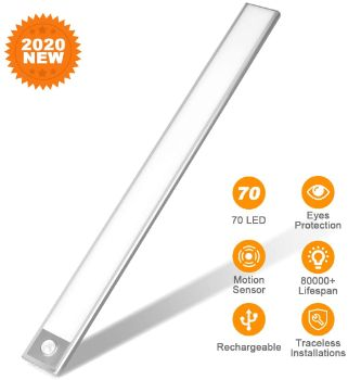 #10. 70 LED Rechargeable Closet Light, Flicker-free