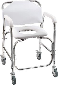#10. DMI Rolling Commode and Shower Transport Chair