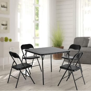 10. JAXPETY 5pc Folding Card Table and Chair Set