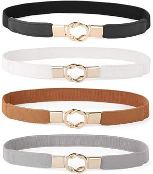 #10. Women Skinny Belt Retro Stretch Set of 4