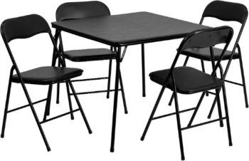 2. Flash Furniture 5pc Black Folding Card Table and Chair Set
