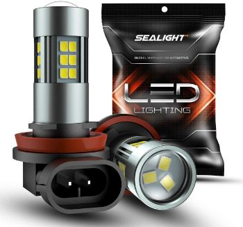 #2. SEALIGHT H11H8H16 6000K Xenon White