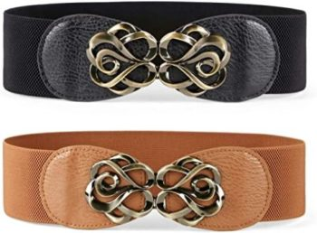 #3. JASGOOD Stretchy Belt for Women Vintage Elastic Belt