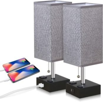 3. ZEEFO USB Table Lamp (Set of 2)