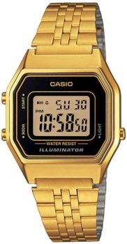 #4. Casio Ladies Mid-Size LA-680WGA-1DF Gold