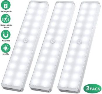 #4. LED Closet Light, Rechargeable 24-LED Motion Sensor
