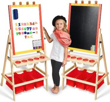 #5 Kids Easel with Paper Roll - Magnetic Dry Erase Board