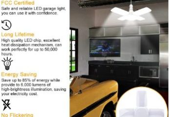 #5 LED Garage Light 2 Pack 60W E26 6000LM Deformable LED