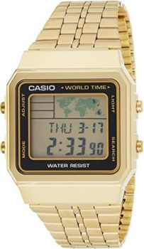 #5. CASIO Men's World TIME Digital Stainless Steel Watch