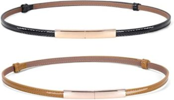 #5. JASGOOD Women's Leather Belt Skinny Patent