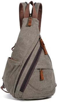 #7 Canvas Sling Bag - Small Crossbody Backpack Daypack Rucksack