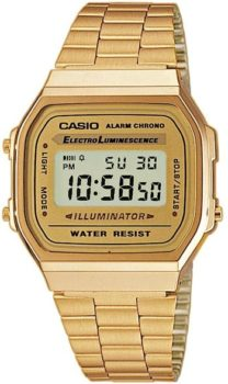 #7. Casio Vintage A168WG9UR Retro Gold Stainless Steel