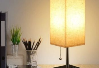 7. USB Table Lamp with Fabric Shade and 2 Charging Ports