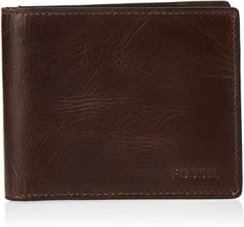 8. Fossil Men's Richard Leather RFID Blocking Bifold Flip