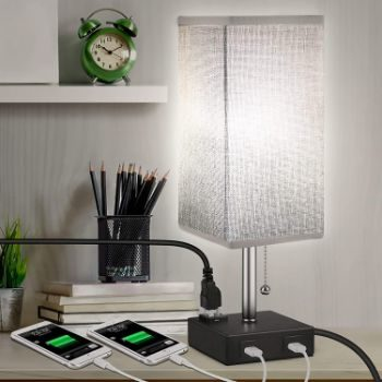 8. MOICO Stylish Nightstand Lamp with 2 USB Charging Port