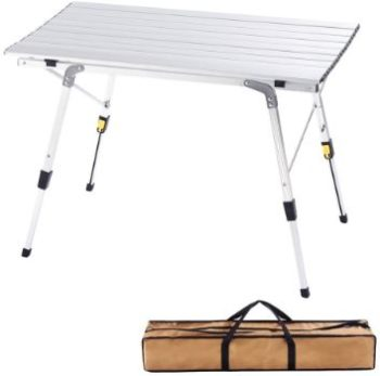 #9. CampLand Aluminum Table Adjustable Folding Table