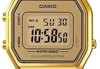 #9. Casio Ladies Gold Tone Mid-Size Digital