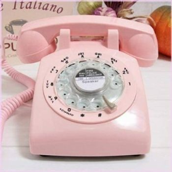 10. Glodeals 1960's Style Pink Retro Rotary Dial Telephone