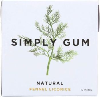 2. Simply Gum All Natural Gum - Fennel Licorice, Pack of 12