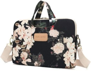 2. Dachee Black Peony Pattern Laptop Bag