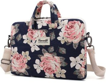 4. Canvaslife White Rose Pattern Laptop Bag