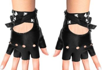 1. Skeleteen Fingerless Faux Leather Gloves