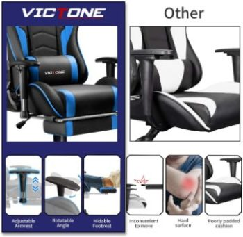 1. Victone High Back Gaming Chair (Blue)