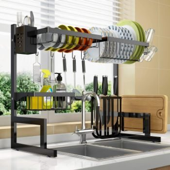 10. Adjustable Dish Drying Rack Over Sink, 2 Tier