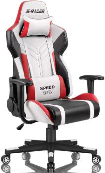 10. Homall Racing Style Gaming Chair (White Red)