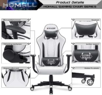 2. Homall Ergonomic Swivel Chair (White)
