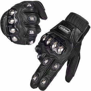 2. ILM Alloy Steel Leather Hard Knuckle Touchscreen Motorcycle Gloves