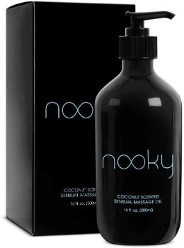 2. Nooky Coconut Massage Oil, 16 Ounce