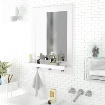 4. Homfa Bathroom Wall Mirror (White)
