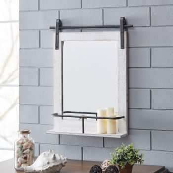 5. FirsTime & Co. Ivywood Barn Door Shelf Wall Mirror