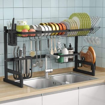 6. 1Easylife Over the Sink Dish Drying Rack (Black)