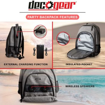 7. Deco Gear Bluetooth Speaker Backpack