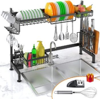 7. iBesi Dish Drying Rack Over Sink with Utensils Holder