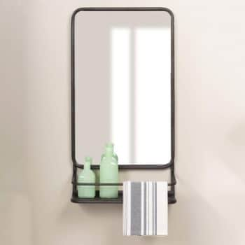 8. Bronze Metal Wall Accent Mirror with Shelf