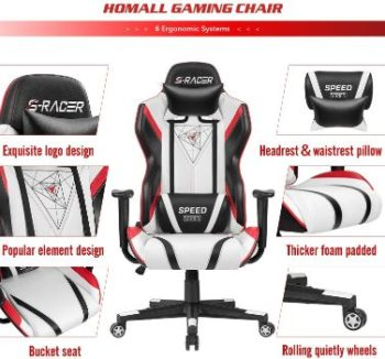 8. Homall PU Leather Gaming Chair (Black White)