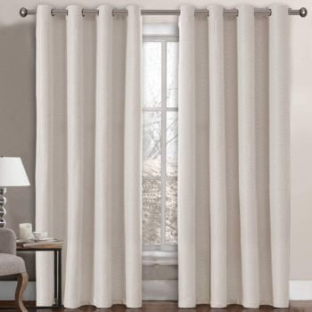 10. Linen Blackout Curtain 96 Inches Long - Ivory