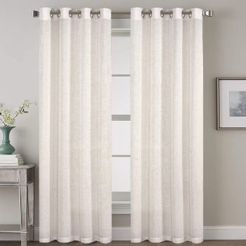2. Grommet Privacy Linen Curtains (2 pieces)