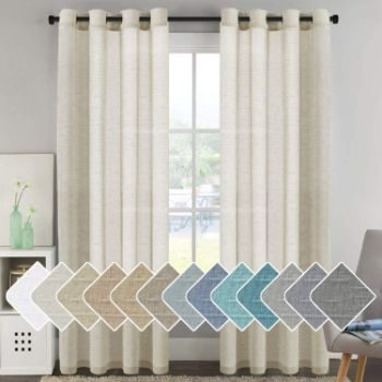 5. Home Decorative Privacy Window Treatment Linen Curtains