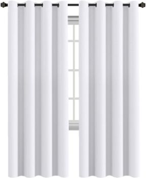 6. White Curtains 96 inches Long Drapes, Set of 2