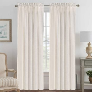 7. H.VERSAILTEX Linen Curtains, 2-Pack
