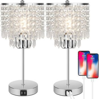 2. Crystal Touch Control Table Lamp, Set of 2